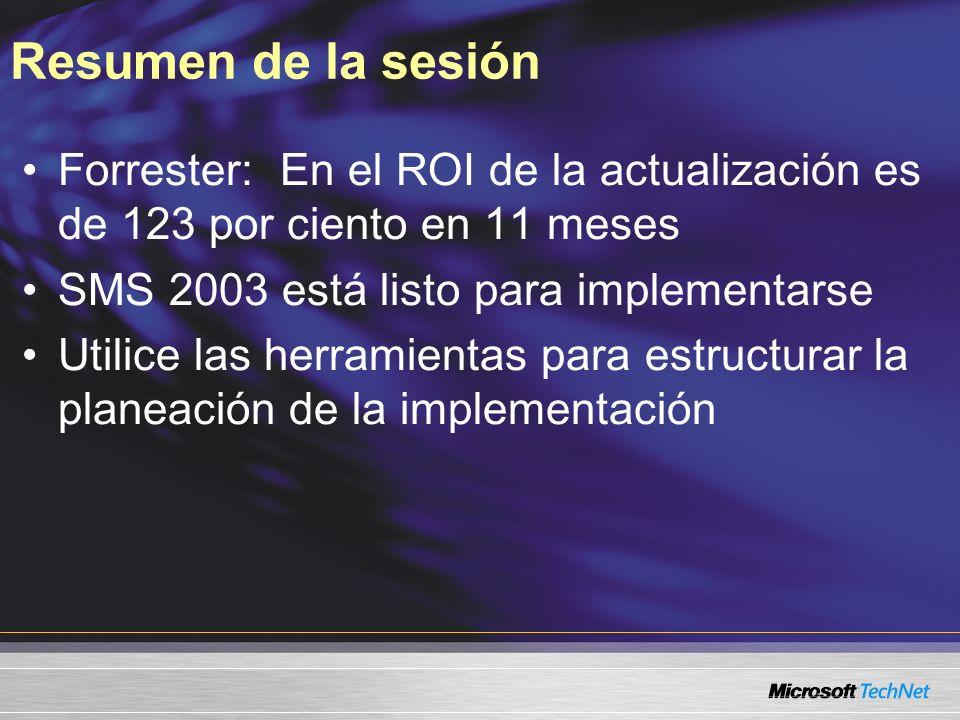 Resumen de la sesión Forrester: En el ROI de la actualización es de 123 por ciento en 11 meses SMS 2003 está listo para implementarse Utilice las herr