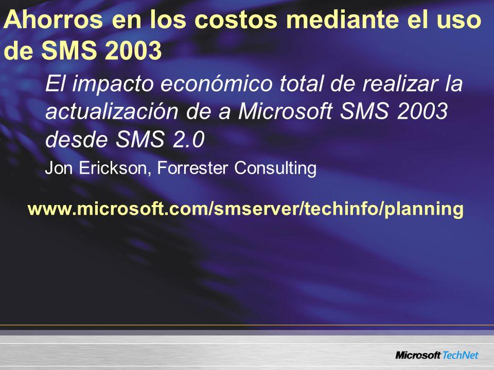 Actualización desde SMS 2003 RTM En el sitio Tan sólo aplicar un paquete de servicio Interoperabilidad Hace posible la flexibilidad Reduce el soporte de clientes heredados SMS 2.0 SMS 2003 RTM LaptopsEscritoriosServidores