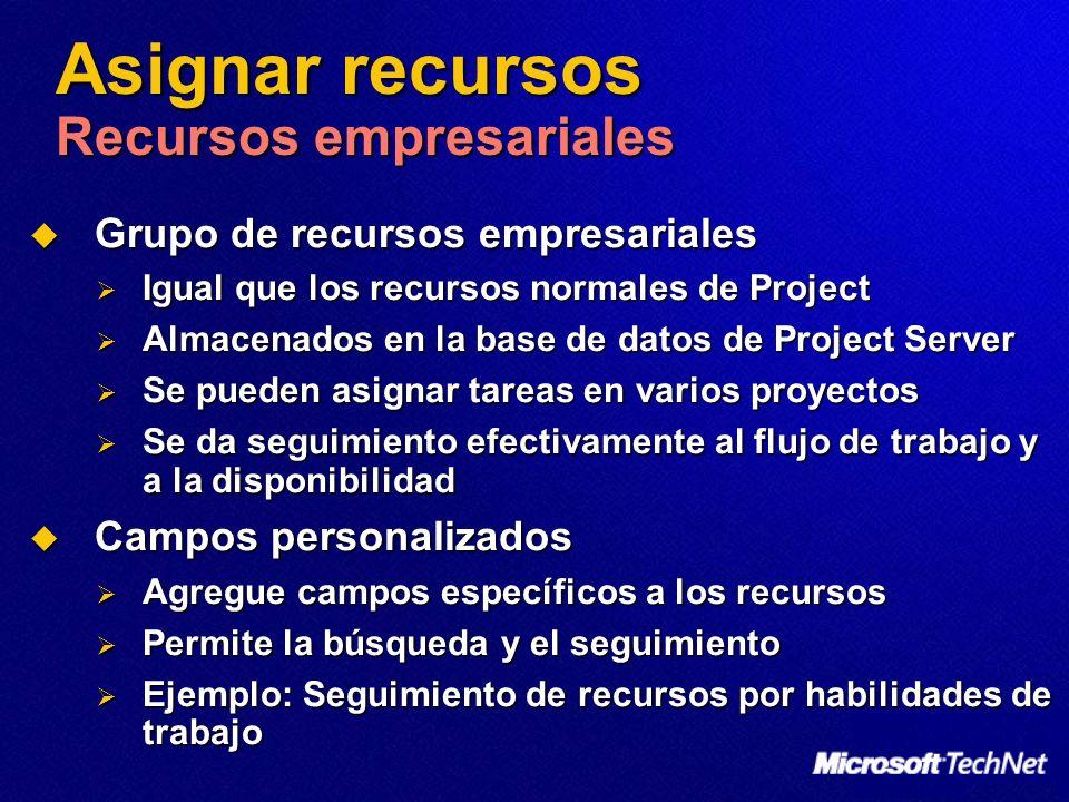 Asignar recursos Recursos empresariales Grupo de recursos empresariales Grupo de recursos empresariales Igual que los recursos normales de Project Igu
