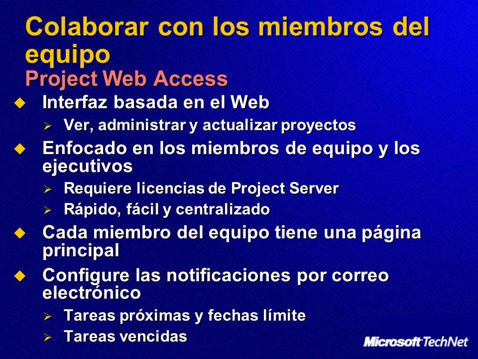 Colaborar con los miembros del equipo Project Web Access Interfaz basada en el Web Interfaz basada en el Web Ver, administrar y actualizar proyectos V