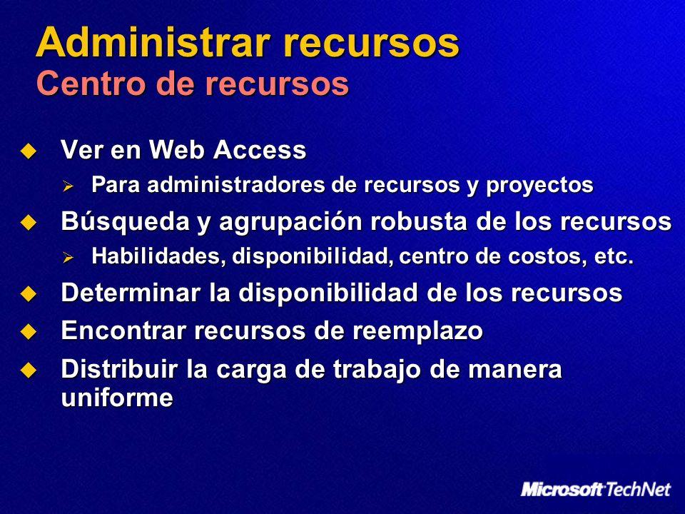 Administrar recursos Centro de recursos Ver en Web Access Ver en Web Access Para administradores de recursos y proyectos Para administradores de recur