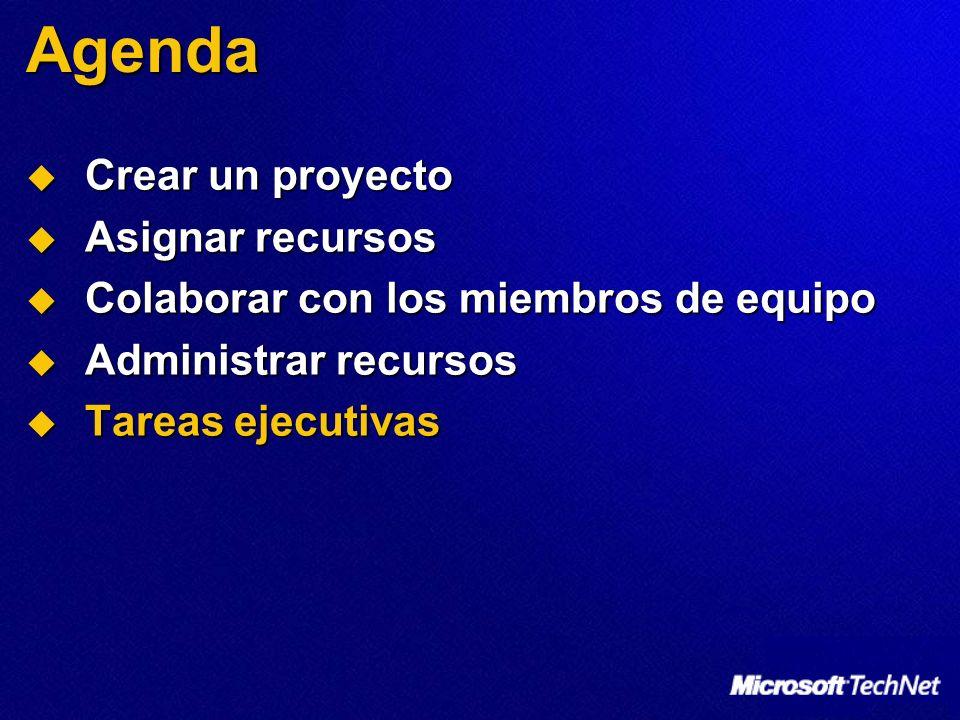 Agenda Crear un proyecto Crear un proyecto Asignar recursos Asignar recursos Colaborar con los miembros de equipo Colaborar con los miembros de equipo