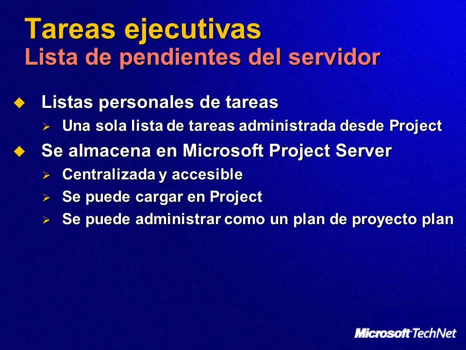 Tareas ejecutivas Lista de pendientes del servidor Listas personales de tareas Listas personales de tareas Una sola lista de tareas administrada desde