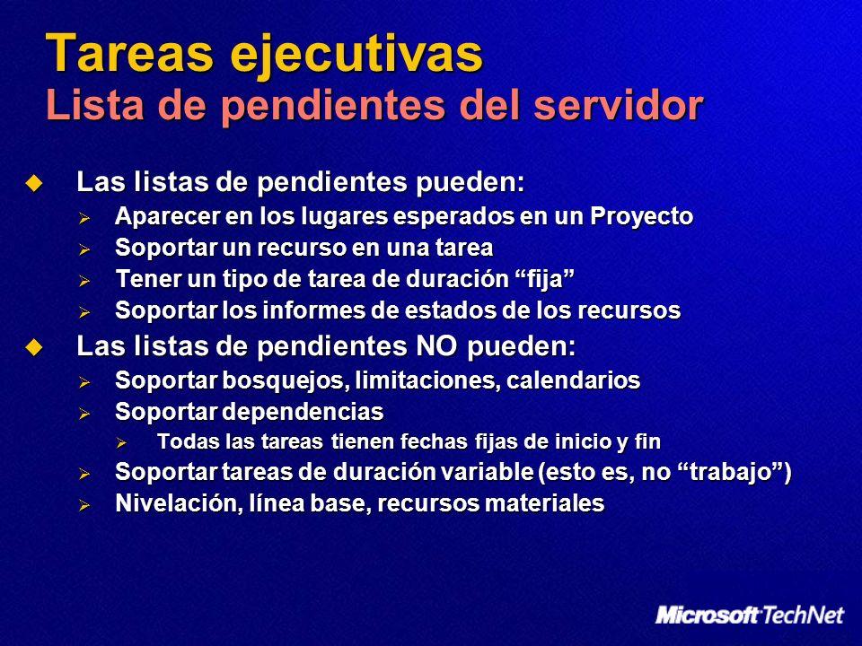 Tareas ejecutivas Lista de pendientes del servidor Las listas de pendientes pueden: Las listas de pendientes pueden: Aparecer en los lugares esperados