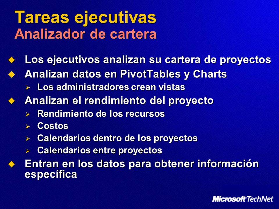 Tareas ejecutivas Analizador de cartera Los ejecutivos analizan su cartera de proyectos Los ejecutivos analizan su cartera de proyectos Analizan datos