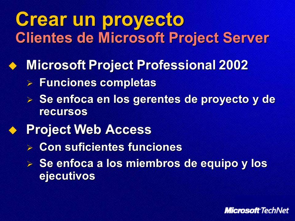 Crear un proyecto Clientes de Microsoft Project Server Microsoft Project Professional 2002 Microsoft Project Professional 2002 Funciones completas Fun