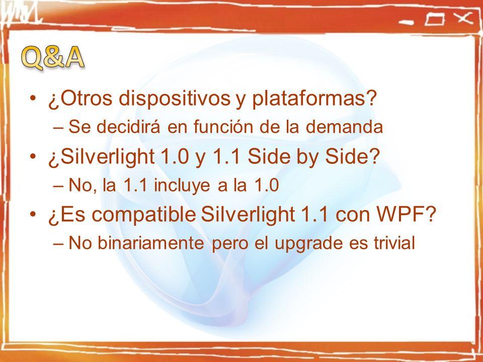 ¿Otros dispositivos y plataformas? –Se decidirá en función de la demanda ¿Silverlight 1.0 y 1.1 Side by Side? –No, la 1.1 incluye a la 1.0 ¿Es compati