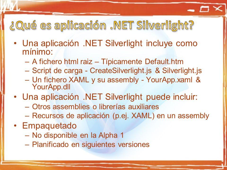 Una aplicación.NET Silverlight incluye como mínimo: –A fichero html raiz – Típicamente Default.htm –Script de carga - CreateSilverlight.js & Silverlight.js –Un fichero XAML y su assembly - YourApp.xaml & YourApp.dll Una aplicación.NET Silverlight puede incluir: –Otros assemblies o librerías auxiliares –Recursos de aplicación (p.ej.