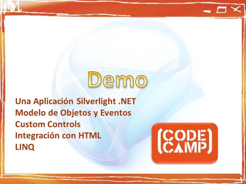 Una Aplicación Silverlight.NET Modelo de Objetos y Eventos Custom Controls Integración con HTML LINQ