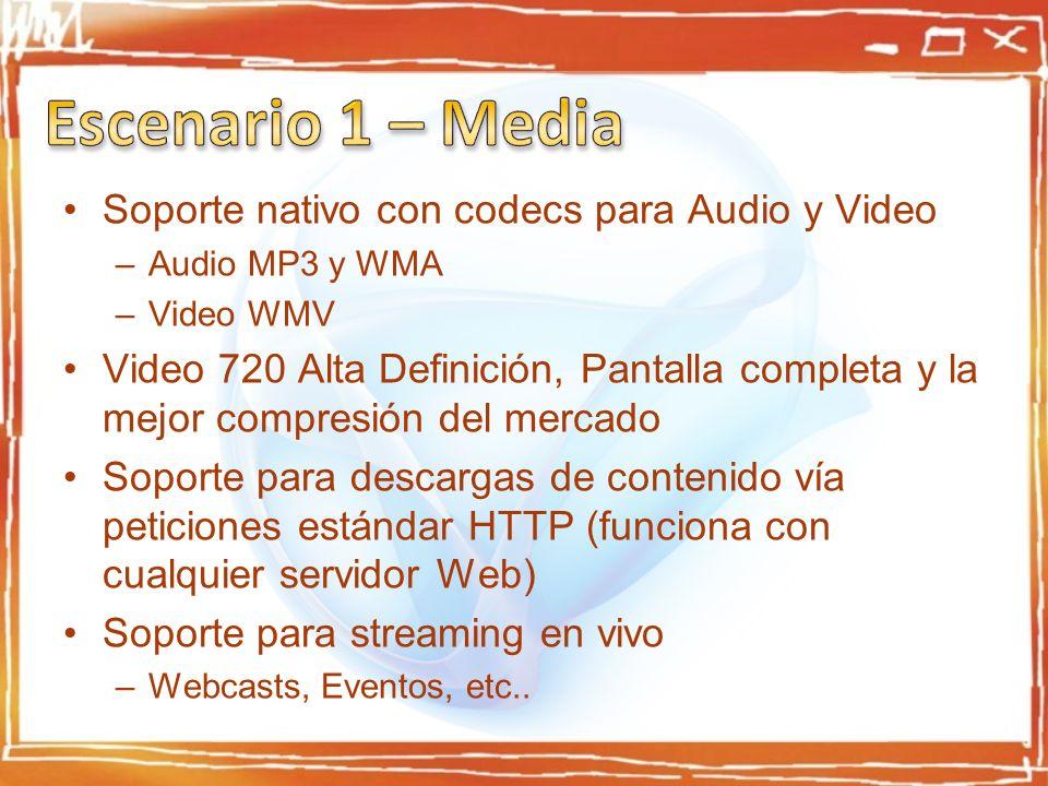 Soporte nativo con codecs para Audio y Video –Audio MP3 y WMA –Video WMV Video 720 Alta Definición, Pantalla completa y la mejor compresión del mercado Soporte para descargas de contenido vía peticiones estándar HTTP (funciona con cualquier servidor Web) Soporte para streaming en vivo –Webcasts, Eventos, etc..