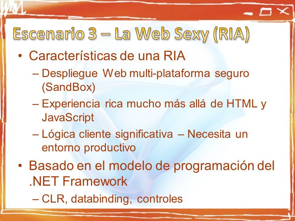 Características de una RIA –Despliegue Web multi-plataforma seguro (SandBox) –Experiencia rica mucho más allá de HTML y JavaScript –Lógica cliente significativa – Necesita un entorno productivo Basado en el modelo de programación del.NET Framework –CLR, databinding, controles