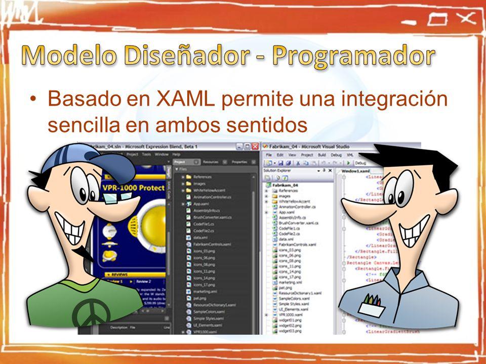 Basado en XAML permite una integración sencilla en ambos sentidos