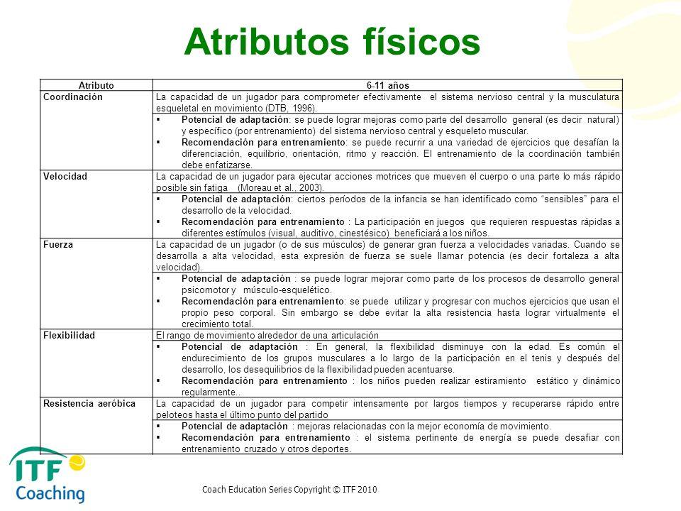 Coach Education Series Copyright © ITF 2010 Atributos físicos Atributo6-11 años CoordinaciónLa capacidad de un jugador para comprometer efectivamente