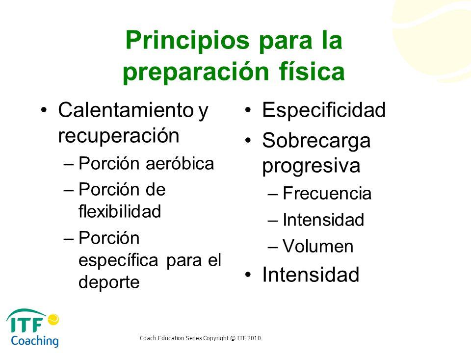 Coach Education Series Copyright © ITF 2010 Principios para la preparación física Calentamiento y recuperación –Porción aeróbica –Porción de flexibili
