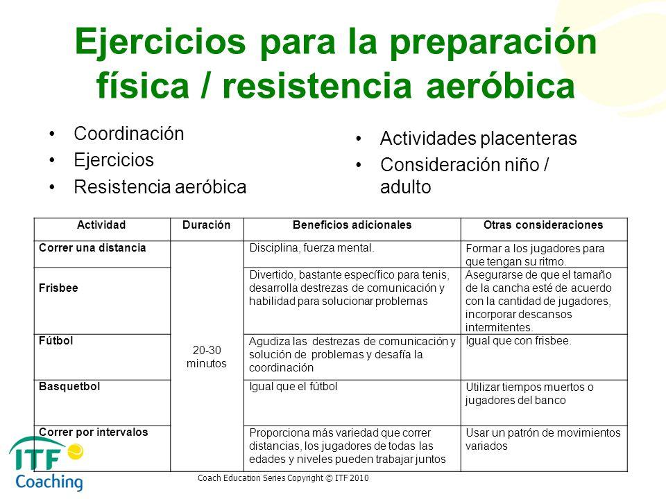 Coach Education Series Copyright © ITF 2010 Ejercicios para la preparación física / resistencia aeróbica Coordinación Ejercicios Resistencia aeróbica