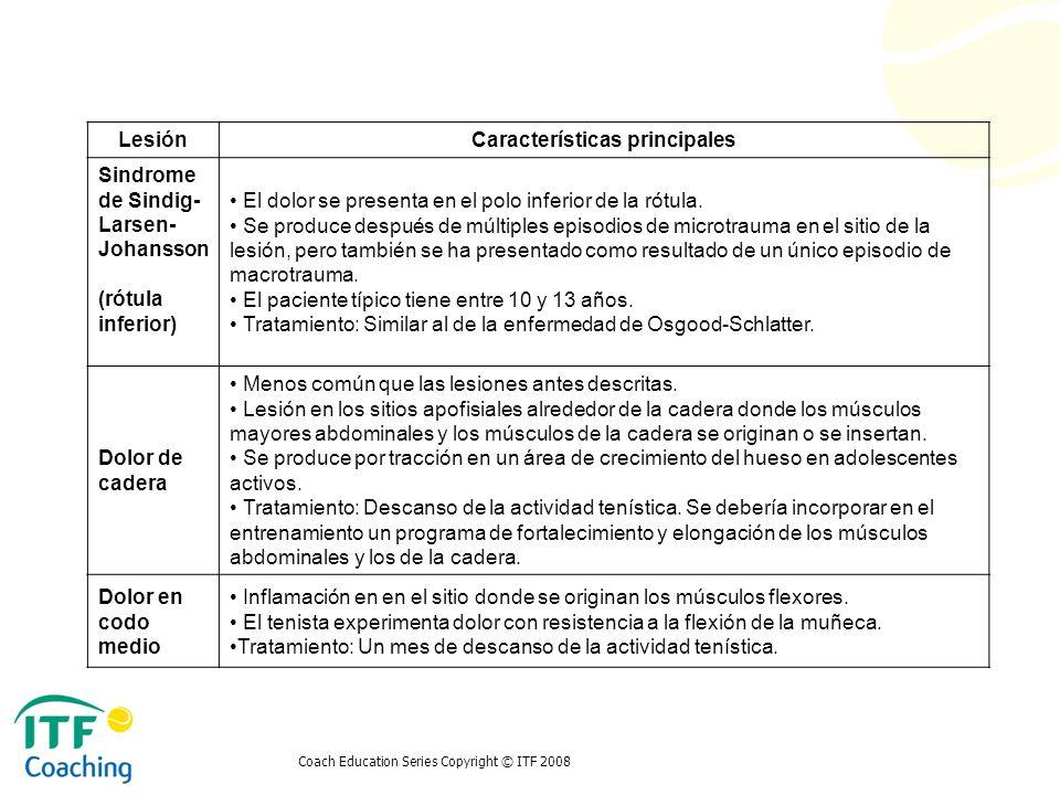 Coach Education Series Copyright © ITF 2008 LesiónCaracterísticas principales Sindrome de Sindig- Larsen- Johansson (rótula inferior) El dolor se pres