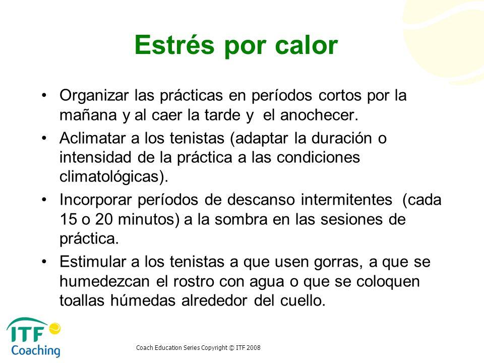 Coach Education Series Copyright © ITF 2008 Estrés por calor Organizar las prácticas en períodos cortos por la mañana y al caer la tarde y el anochece