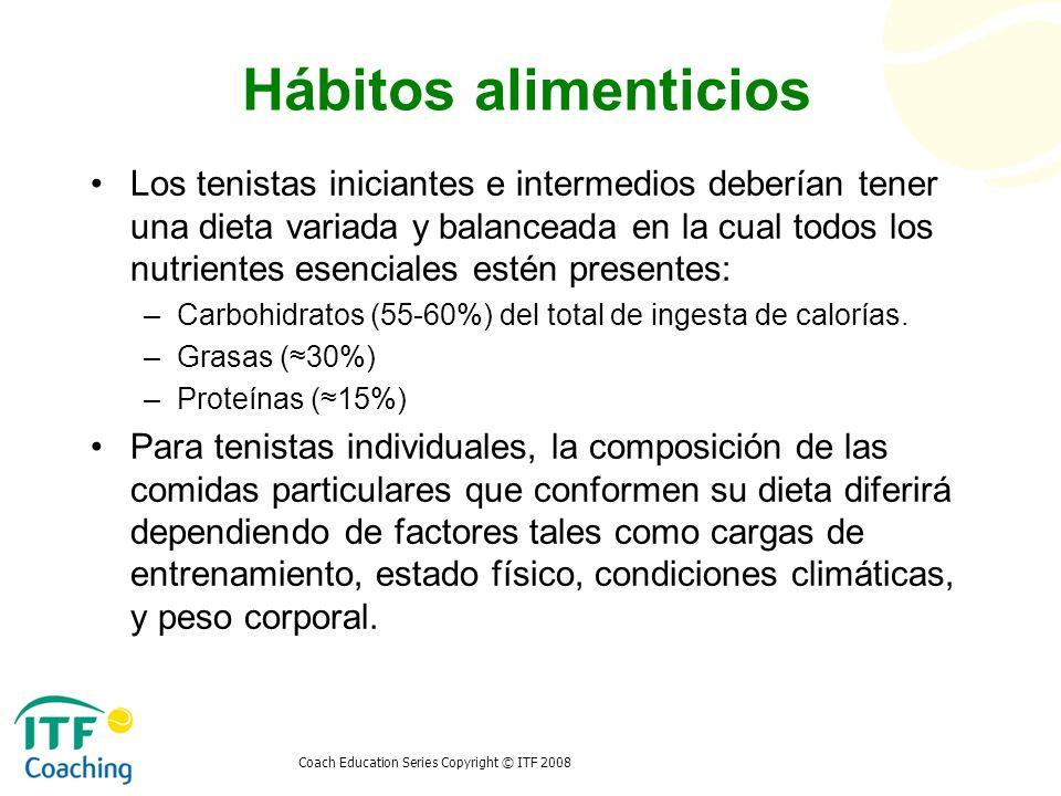 Coach Education Series Copyright © ITF 2008 Hábitos alimenticios Los tenistas iniciantes e intermedios deberían tener una dieta variada y balanceada e