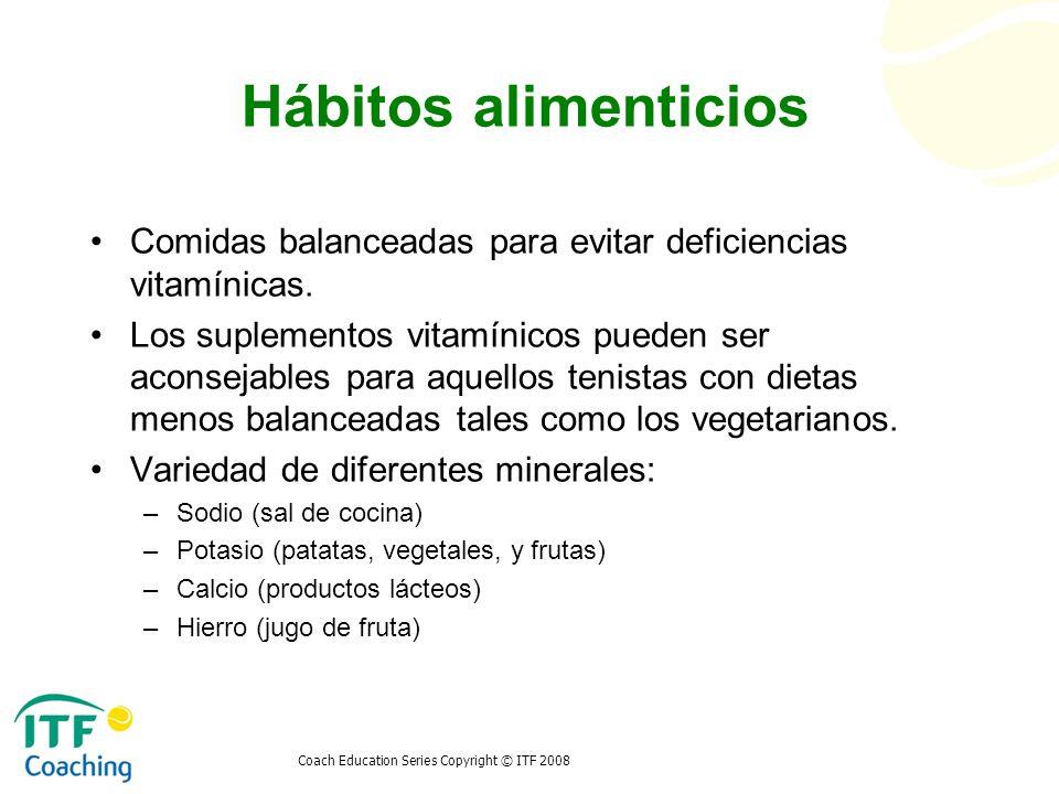 Coach Education Series Copyright © ITF 2008 Hábitos alimenticios Comidas balanceadas para evitar deficiencias vitamínicas. Los suplementos vitamínicos