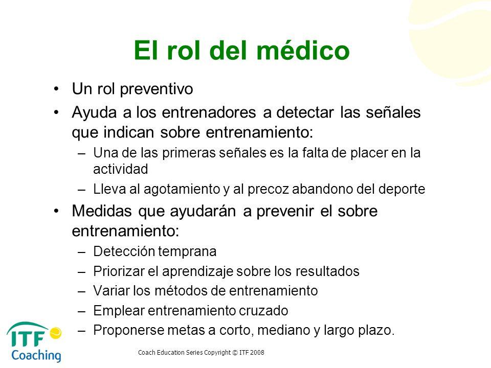 Coach Education Series Copyright © ITF 2008 El rol del médico Un rol preventivo Ayuda a los entrenadores a detectar las señales que indican sobre entr