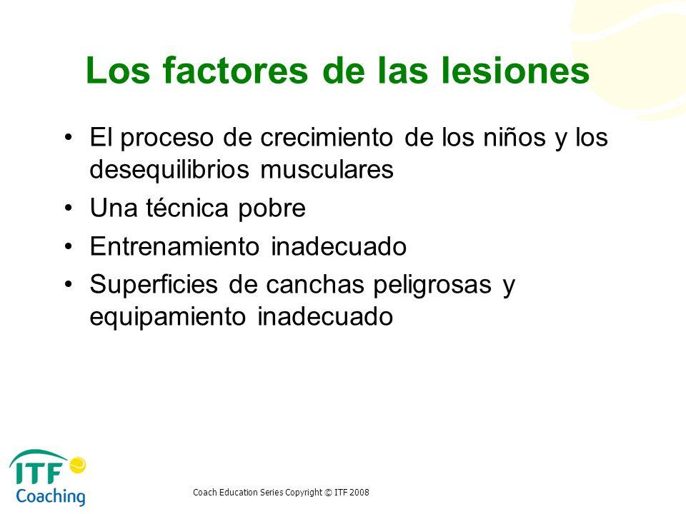 Coach Education Series Copyright © ITF 2008 Los factores de las lesiones El proceso de crecimiento de los niños y los desequilibrios musculares Una té