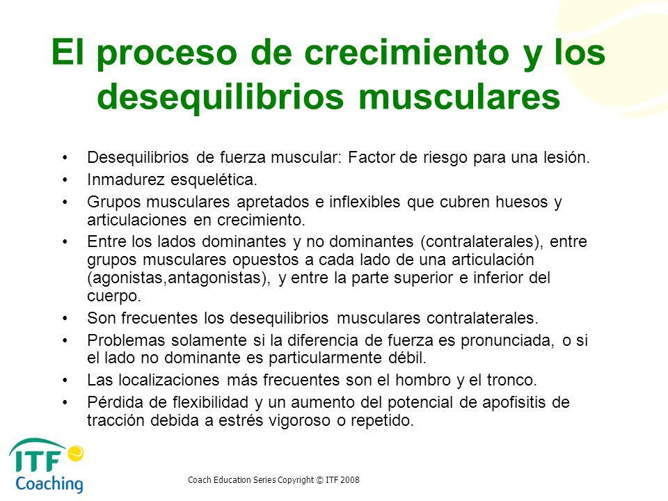 Coach Education Series Copyright © ITF 2008 El proceso de crecimiento y los desequilibrios musculares Desequilibrios de fuerza muscular: Factor de rie