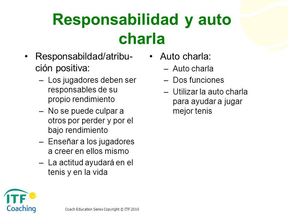 Coach Education Series Copyright © ITF 2010 Responsabilidad y auto charla Responsabildad/atribu- ción positiva: –Los jugadores deben ser responsables