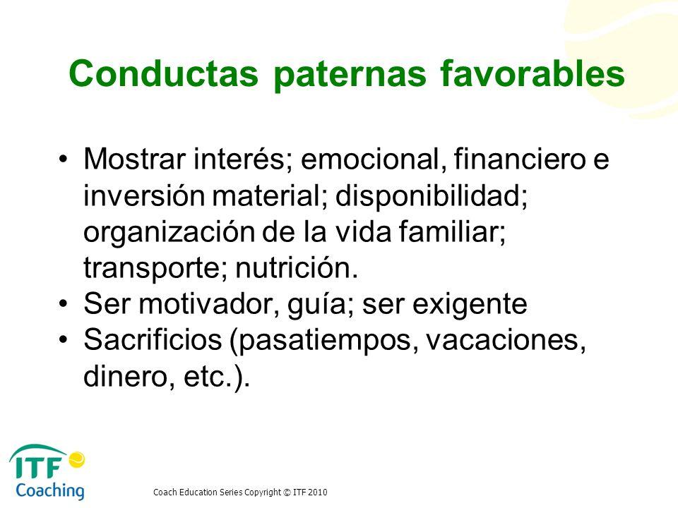 Conductas paternas favorables Mostrar interés; emocional, financiero e inversión material; disponibilidad; organización de la vida familiar; transport