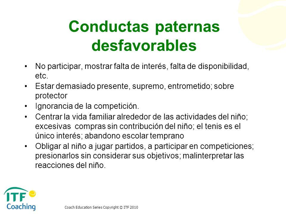 Conductas paternas desfavorables No participar, mostrar falta de interés, falta de disponibilidad, etc. Estar demasiado presente, supremo, entrometido