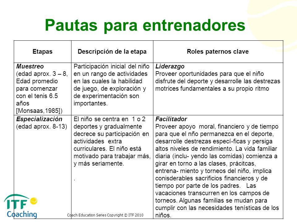 Pautas para entrenadores EtapasDescripción de la etapaRoles paternos clave Muestreo (edad aprox. 3 – 8, Edad promedio para comenzar con el tenis 6.5 a