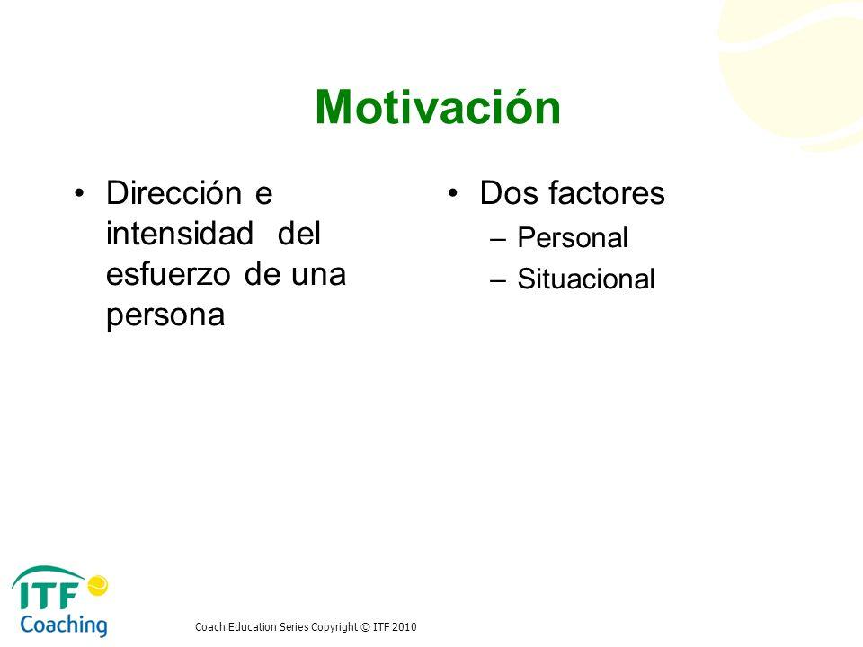 Coach Education Series Copyright © ITF 2010 Motivación Dirección e intensidad del esfuerzo de una persona Dos factores –Personal –Situacional