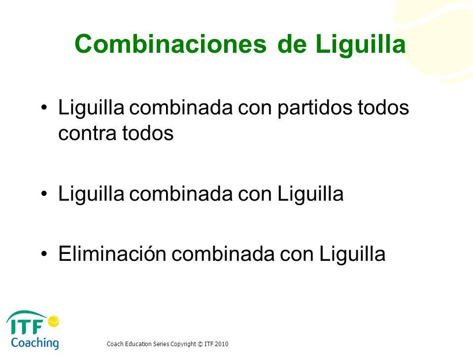 Coach Education Series Copyright © ITF 2010 Combinaciones de Liguilla Liguilla combinada con partidos todos contra todos Liguilla combinada con Liguil