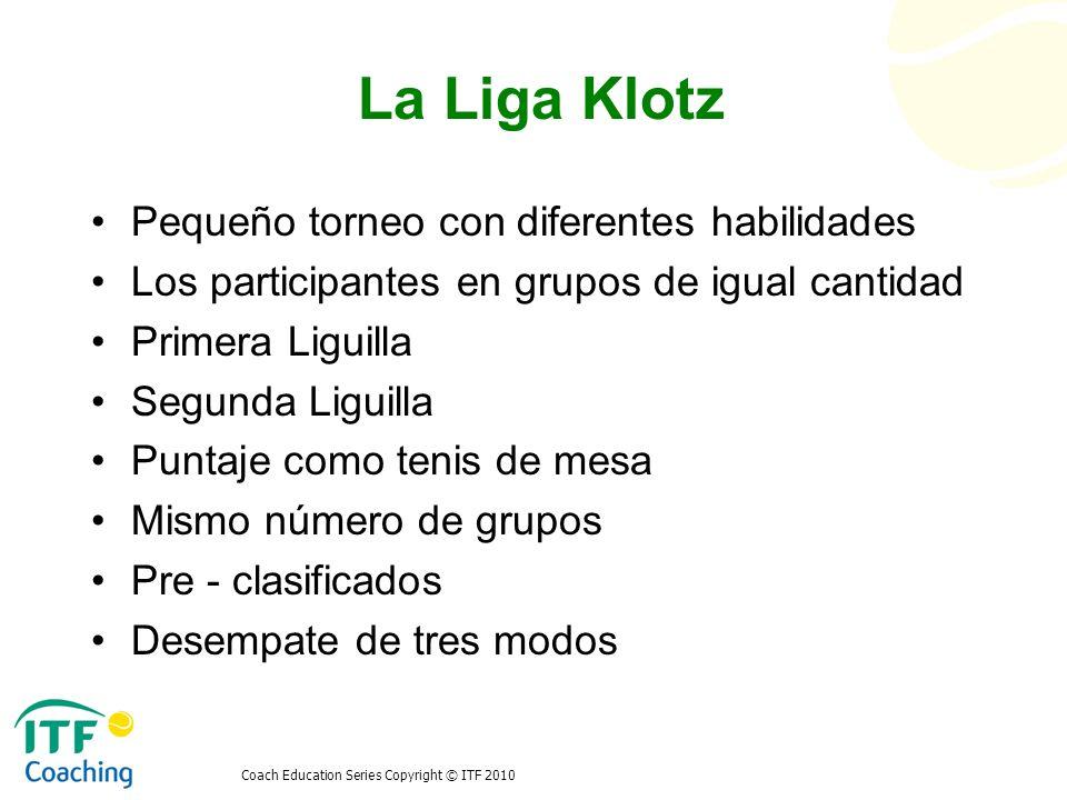Coach Education Series Copyright © ITF 2010 La Liga Klotz Pequeño torneo con diferentes habilidades Los participantes en grupos de igual cantidad Prim