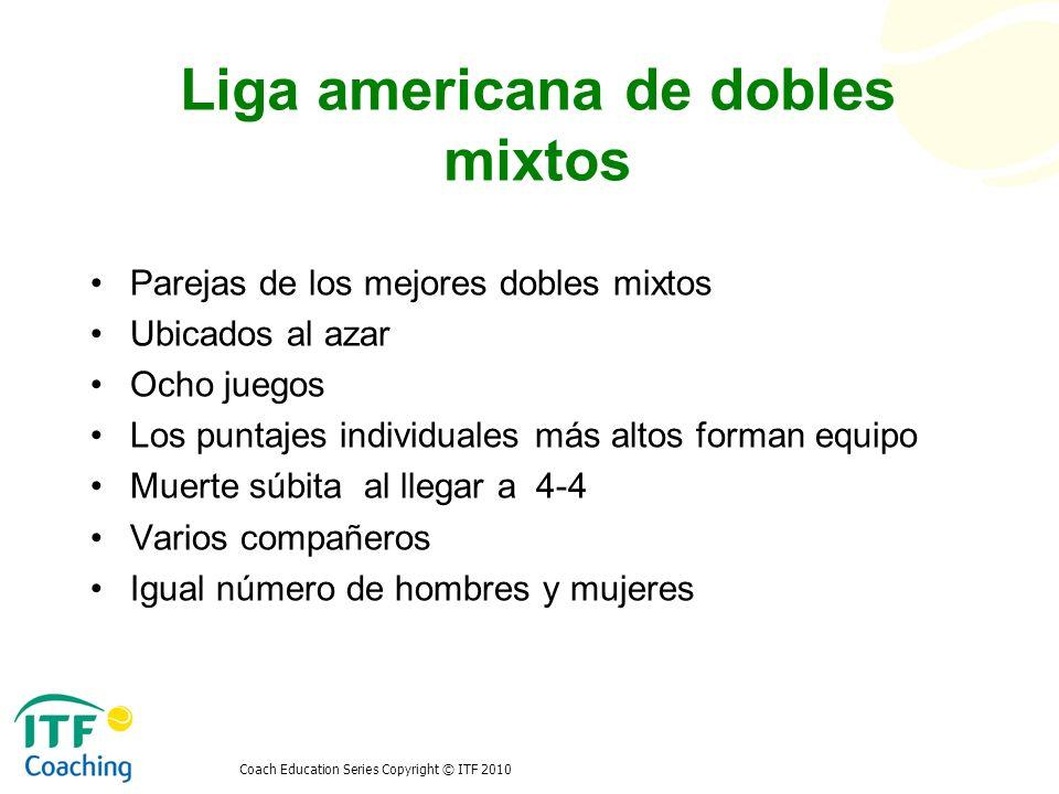 Coach Education Series Copyright © ITF 2010 Liga americana de dobles mixtos Parejas de los mejores dobles mixtos Ubicados al azar Ocho juegos Los punt