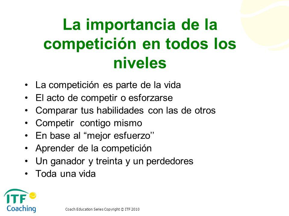 Coach Education Series Copyright © ITF 2010 La importancia de la competición en todos los niveles La competición es parte de la vida El acto de compet