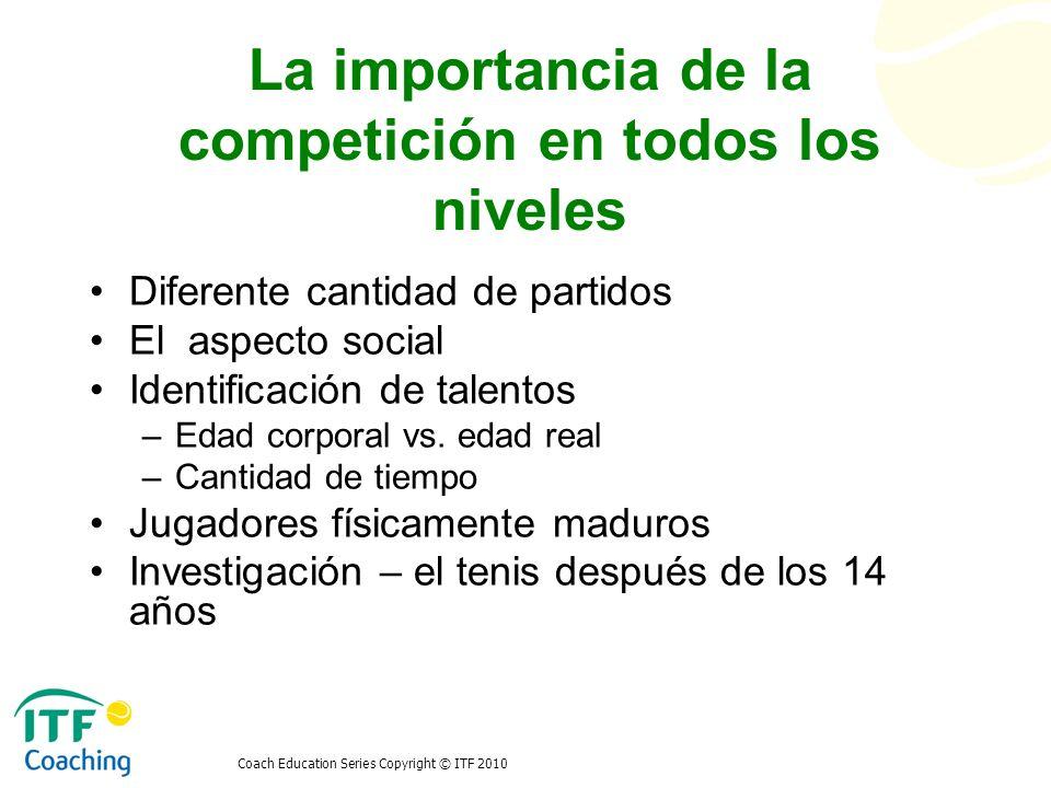 Coach Education Series Copyright © ITF 2010 La importancia de la competición en todos los niveles Diferente cantidad de partidos El aspecto social Ide