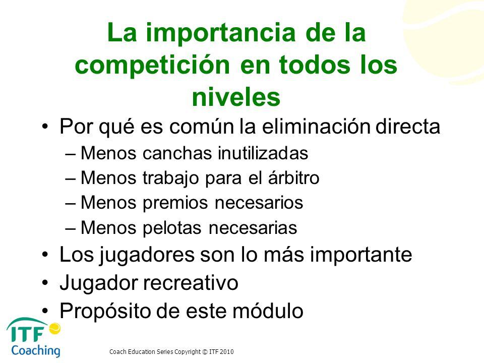 Coach Education Series Copyright © ITF 2010 La importancia de la competición en todos los niveles Por qué es común la eliminación directa –Menos canch