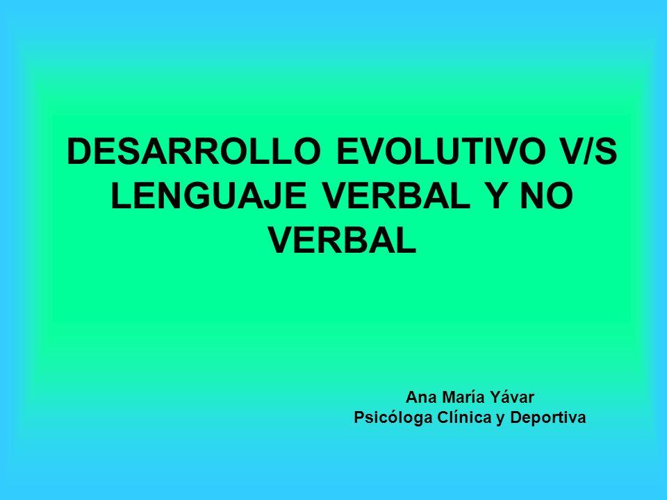 DESARROLLO EVOLUTIVO V/S LENGUAJE VERBAL Y NO VERBAL Ana María Yávar Psicóloga Clínica y Deportiva