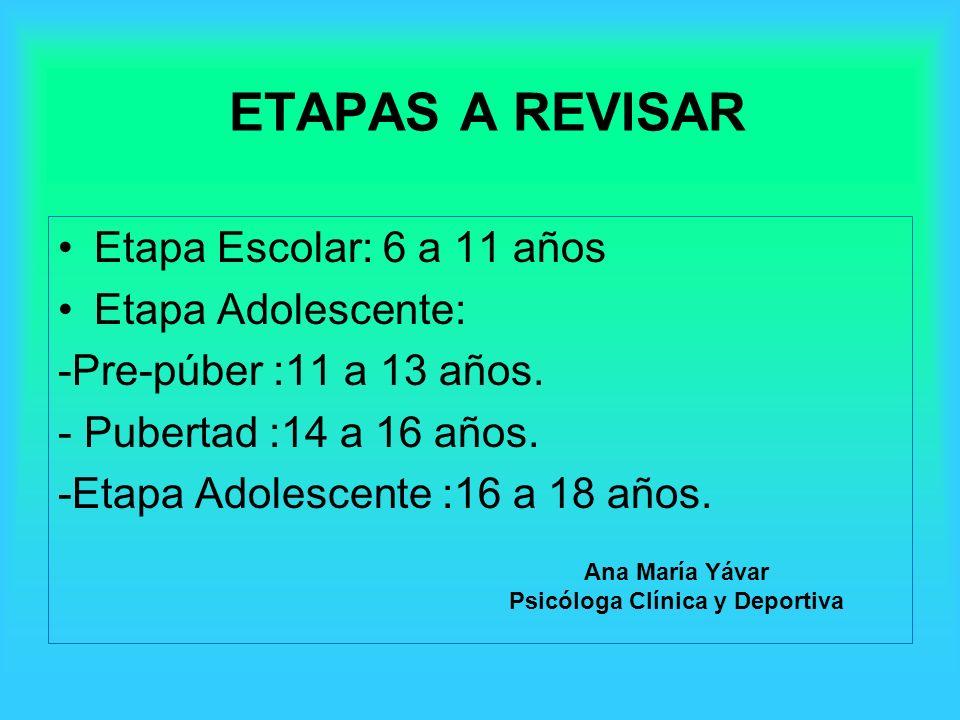 ETAPAS A REVISAR Etapa Escolar: 6 a 11 años Etapa Adolescente: -Pre-púber :11 a 13 años. - Pubertad :14 a 16 años. -Etapa Adolescente :16 a 18 años. A