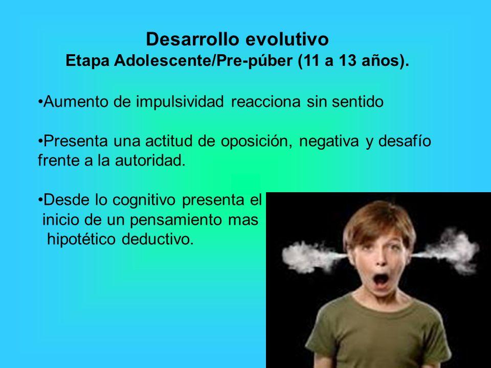 Aumento de impulsividad reacciona sin sentido Presenta una actitud de oposición, negativa y desafío frente a la autoridad. Desde lo cognitivo presenta