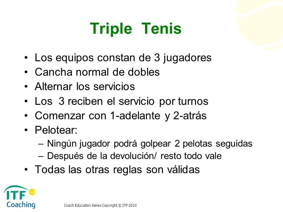 Coach Education Series Copyright © ITF 2010 Triple Tenis Los equipos constan de 3 jugadores Cancha normal de dobles Alternar los servicios Los 3 recib