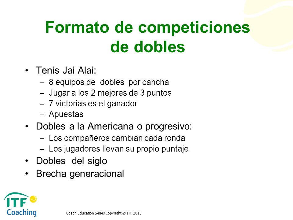 Coach Education Series Copyright © ITF 2010 Formato de competiciones de dobles Tenis Jai Alai: –8 equipos de dobles por cancha –Jugar a los 2 mejores