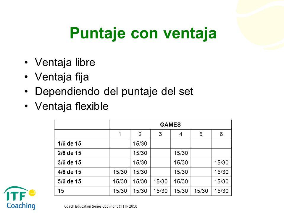Coach Education Series Copyright © ITF 2010 Puntaje con ventaja Ventaja libre Ventaja fija Dependiendo del puntaje del set Ventaja flexible GAMES 1234