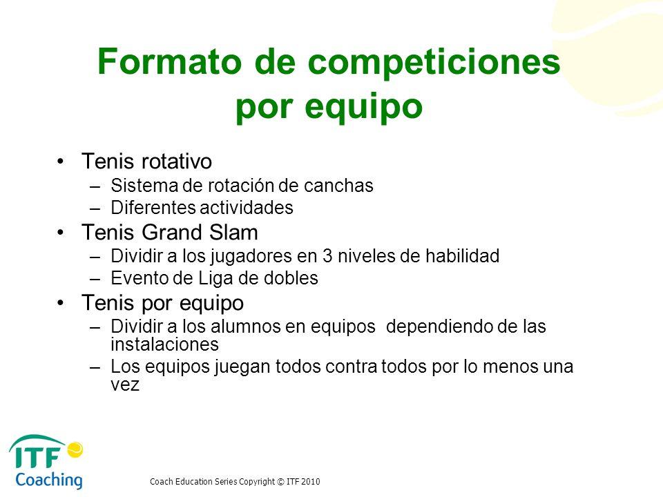 Coach Education Series Copyright © ITF 2010 Formato de competiciones por equipo Competición Copa Davis –Eliminatoria -4 individuales y 1 dobles –Diferentes formatos de competición –Promoción y reglamentación Copa Federación –Local y visitante –Evento de clasificación -2 individuales y 1 dobles Conclusión