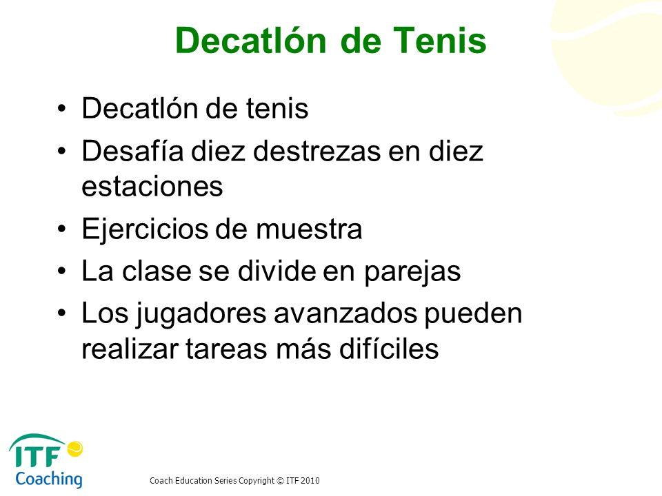 Coach Education Series Copyright © ITF 2010 Triatlón de tenis Competición de tenis Competición por postas pista y campo Competición basquetbol Otras formas de puntaje Situación final Niños 12 y menoresNiños 14 y menoresNiñas 12 y 14 y menores 1 niño de hasta 12 para 1 partido de individuales 4 niños de 12 para 2 partidos de dobles 1 niño de hasta 14 para 1 partido de individuales 4 niños de 14 para 2 partidos de dobles 1 niña de hasta 14 para 1 partido de individuales 4 niñas de 12 ó 14 para 2 partidos de dobles Niños menores de 12Niños menores de 14Niñas menores de 12-14 Niños menores de 5 12Niños menores de 5 14Niñas menores de 5, 12-14 1.