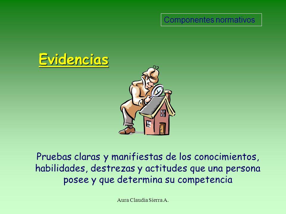 Evidencias Requeridas Pruebas definidas para demostrar la competencia laboral Métodos y fuentes de recopilación de evidencias Componentes normativos A