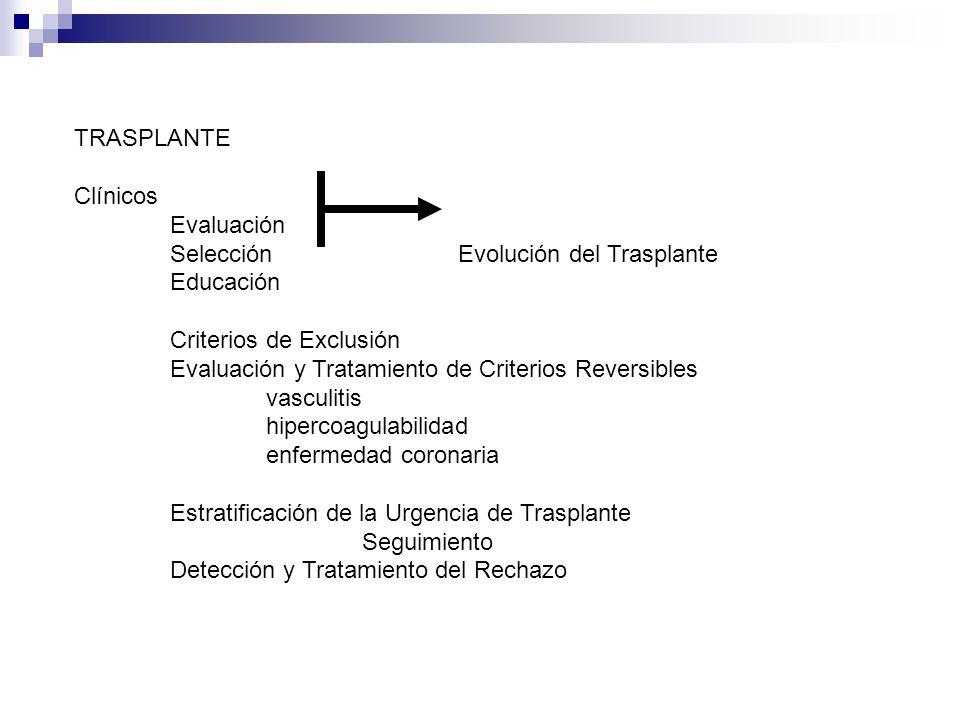 TRASPLANTE Clínicos Evaluación SelecciónEvolución del Trasplante Educación Criterios de Exclusión Evaluación y Tratamiento de Criterios Reversibles va