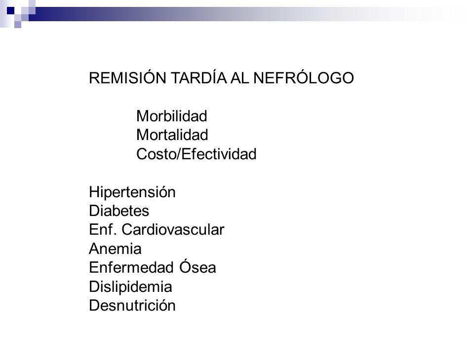 REMISIÓN TARDÍA AL NEFRÓLOGO Morbilidad Mortalidad Costo/Efectividad Hipertensión Diabetes Enf. Cardiovascular Anemia Enfermedad Ósea Dislipidemia Des