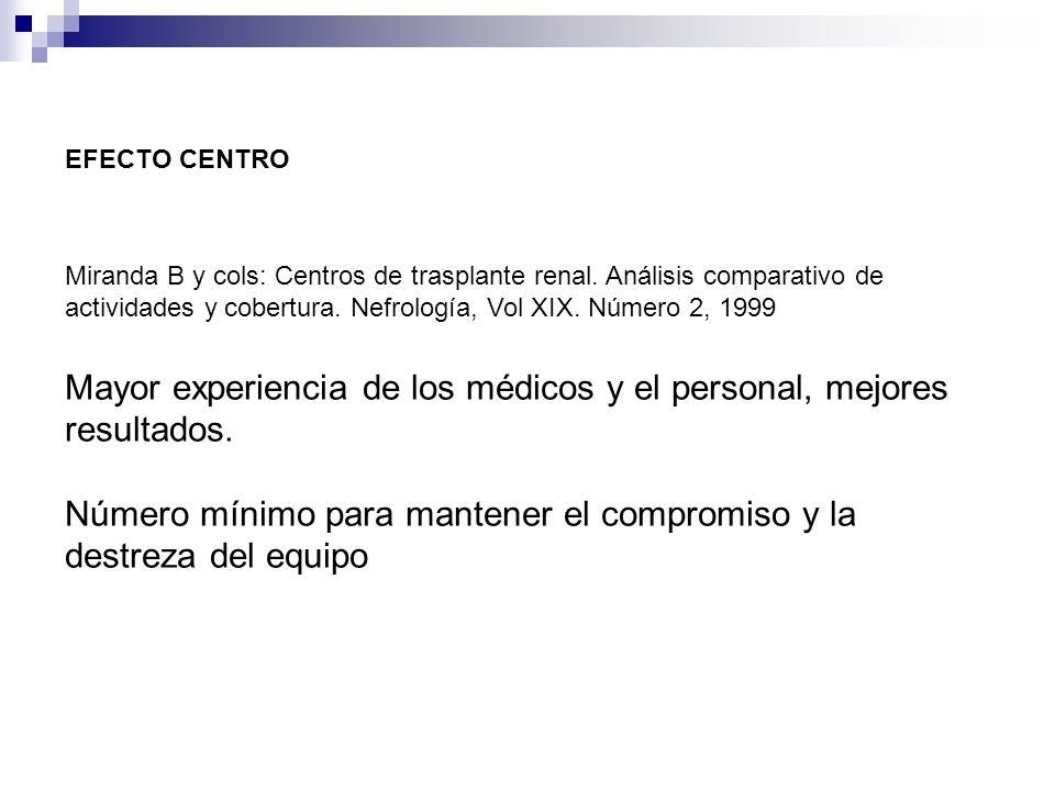 EFECTO CENTRO Miranda B y cols: Centros de trasplante renal. Análisis comparativo de actividades y cobertura. Nefrología, Vol XIX. Número 2, 1999 Mayo