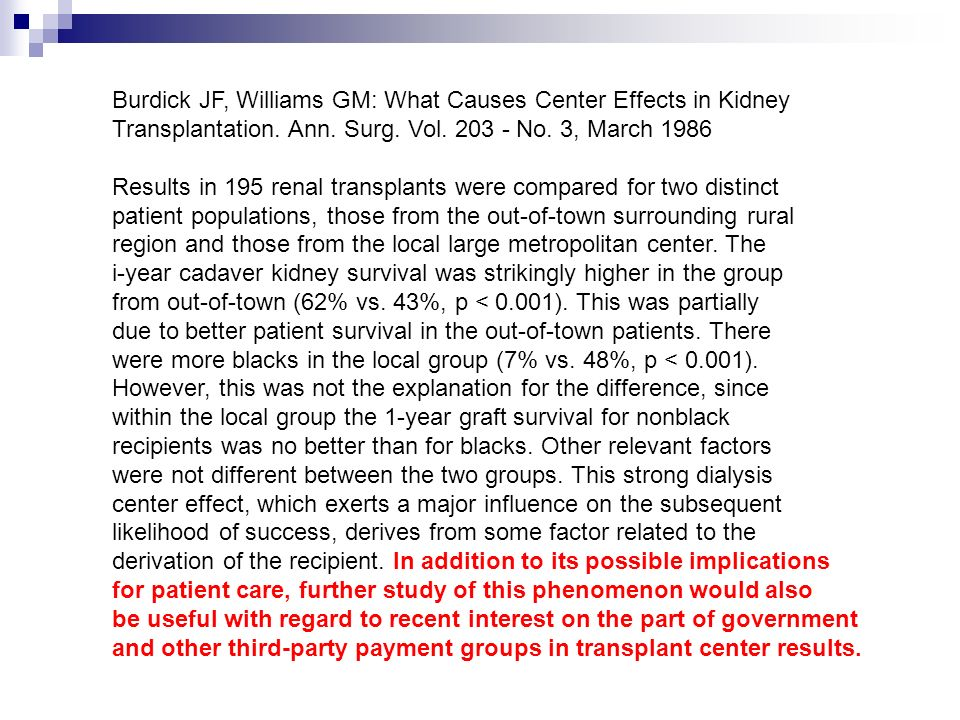 Burdick JF, Williams GM: What Causes Center Effects in Kidney Transplantation. Ann. Surg. Vol. 203 - No. 3, March 1986 Results in 195 renal transplant